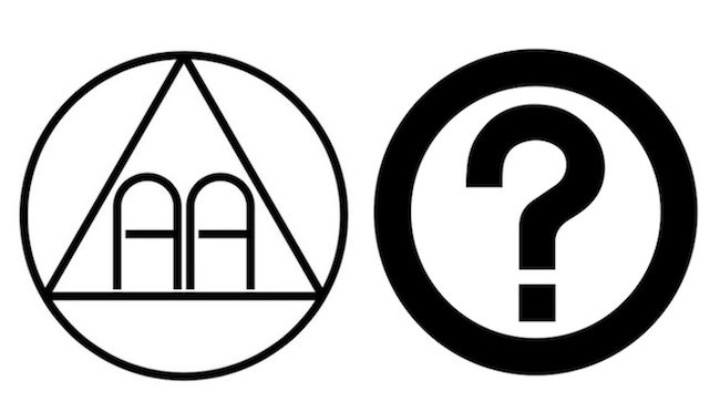 alcoholics anonymous logo with question mark